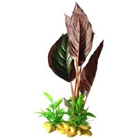 Resin Base Red Variegated Plant