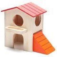 CARNO Double Story Wooden Hamster House with Ramp