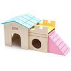 CARNO Double Volume Wooden Hamster House with Slide