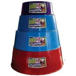 Dog Bowl Plastic - 4 Sizes Asst Colours